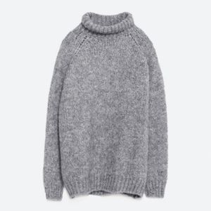 Zara Knit Mohair Wool Blend Cowlneck Sweater